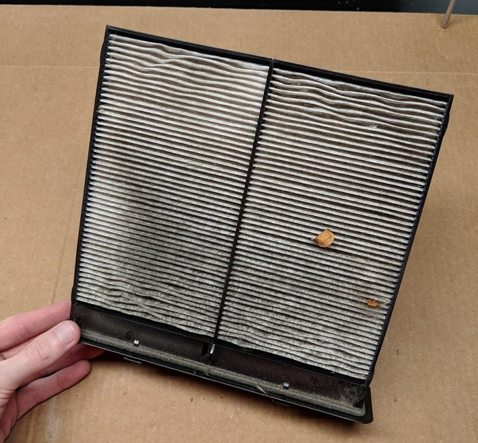 One dirty Subaru cabin air filter