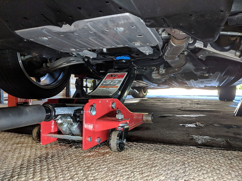 Jacking up the front of the WRX - the little known center jack plate