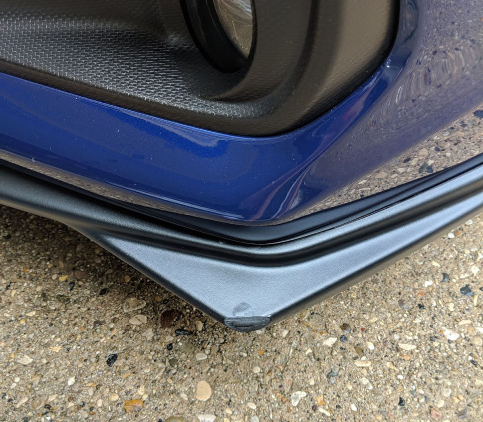 Damage to the WRX's front lip