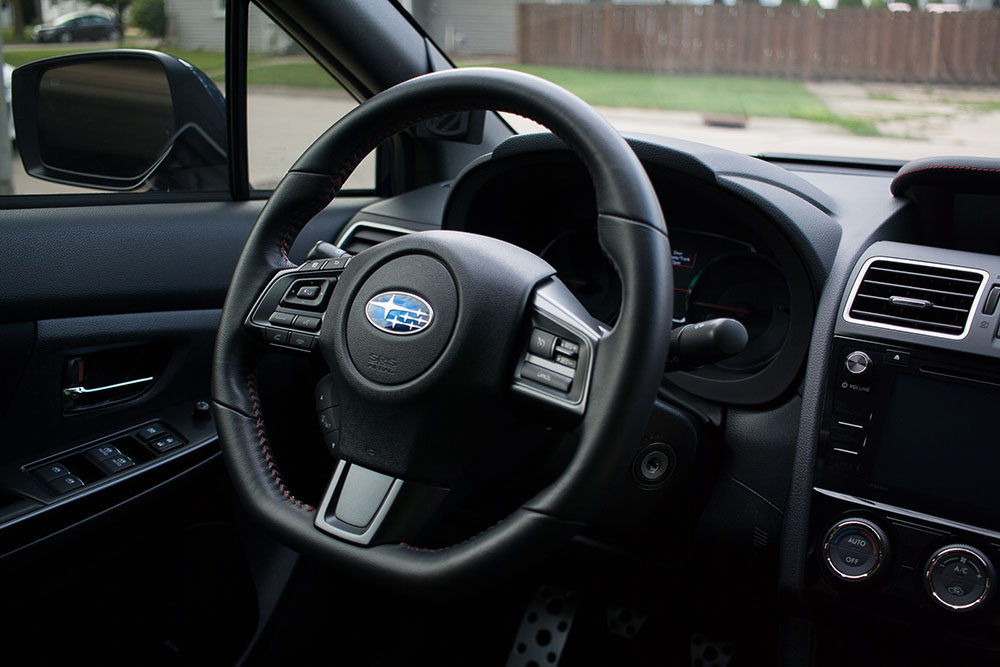 The WRX's functional if somewhat boring interior