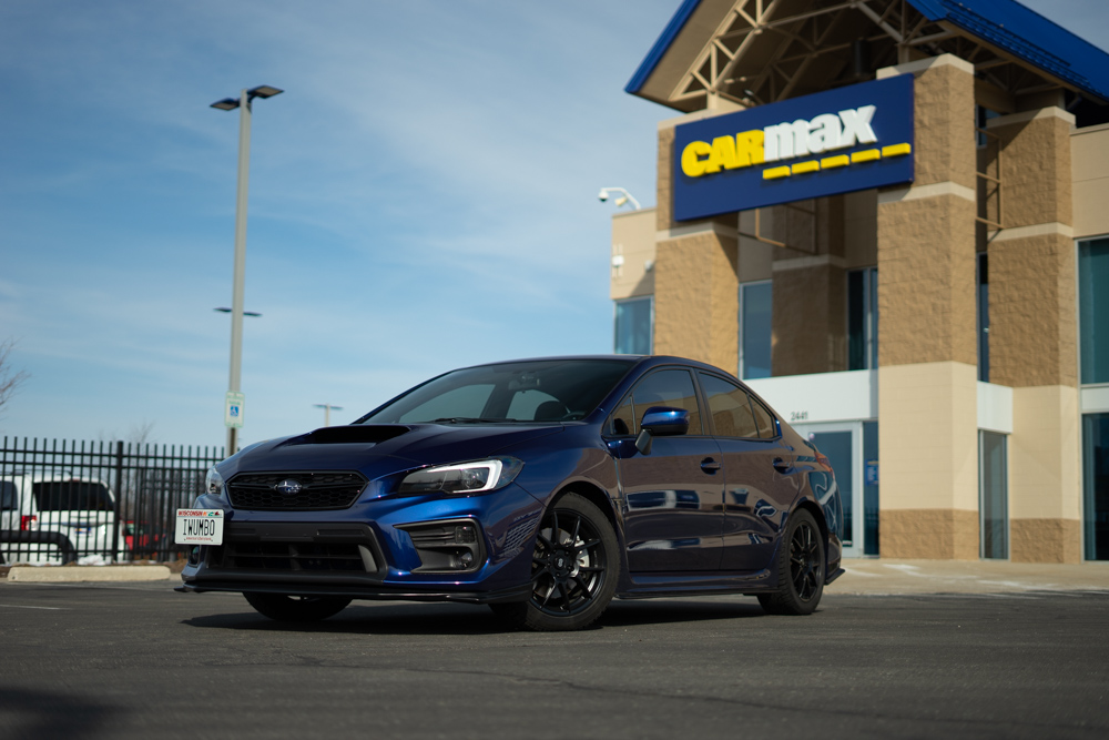 The WRX posing in front of CarMax