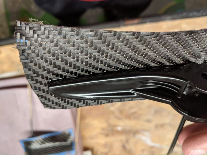 Example of skinning a part with carbon fiber