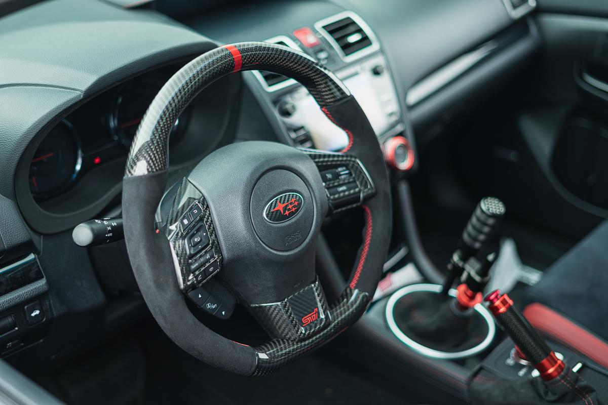 Beautiful red STI interior